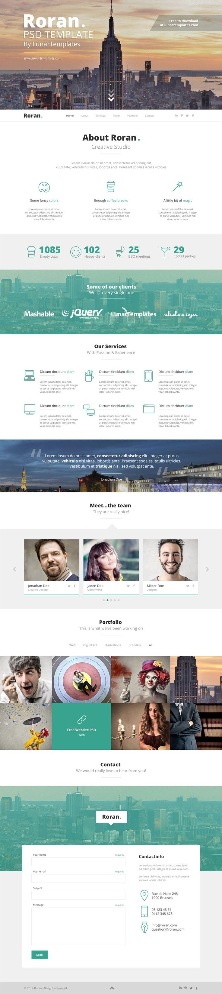 Roran - free One Page PSD Website Template