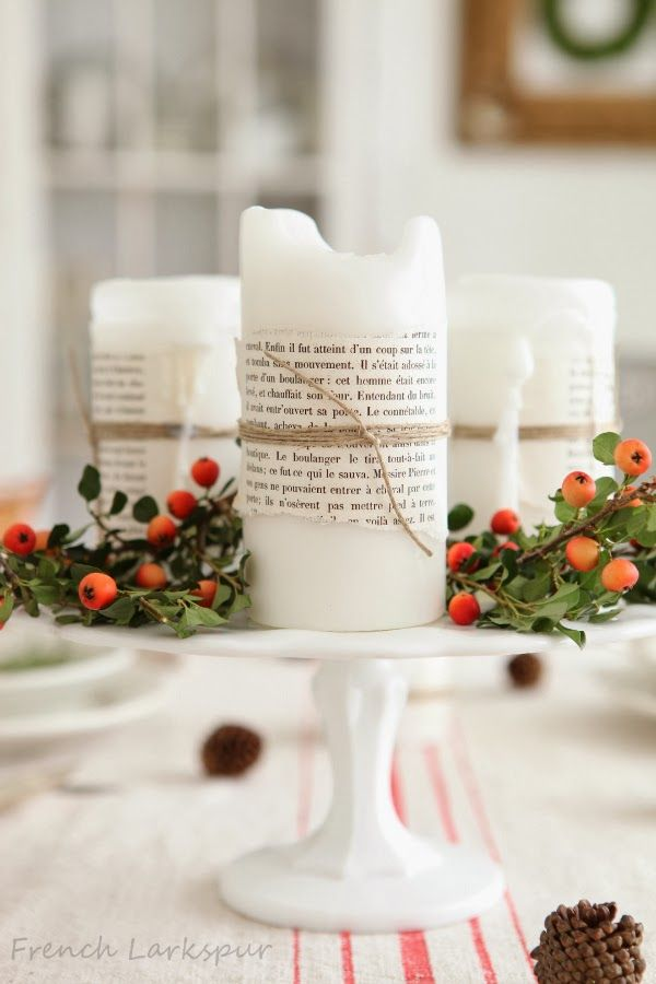 Darling festive DIY candle idea. Wouldn't take much to embellish! Love it for Christmas