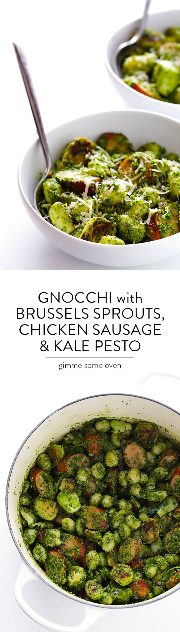 Gnocchi with Brussels Sprouts, Chicken Sausage and Kale Pesto -- quick and easy to make, and SUCH a delicious dinner! | gimmesomeoven.com