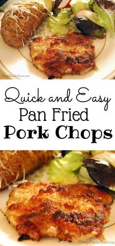 Need a new way to prepare pork chops for the family. This is a quick and easy dinner recipe for pan fried pork chops. They don't turn out greasy at all.