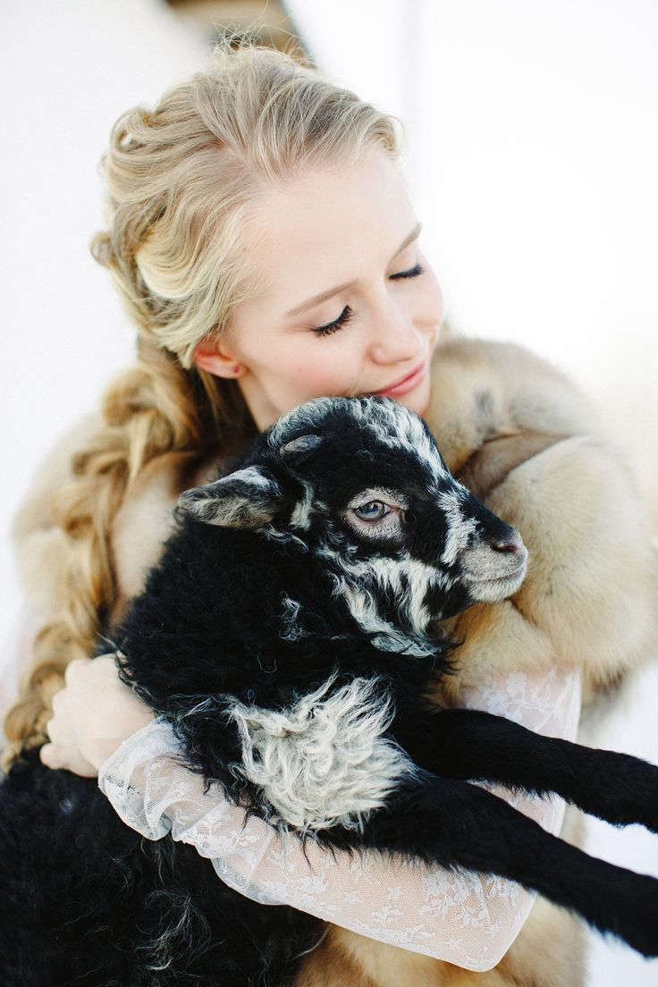 farm weddings aren't complete without a lamb hugging photo or two