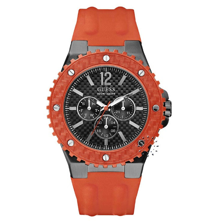 GUESS Overdrive Orange Rubber Strap  144€  http://www.oroloi.gr/product_info.php?products_id=26009