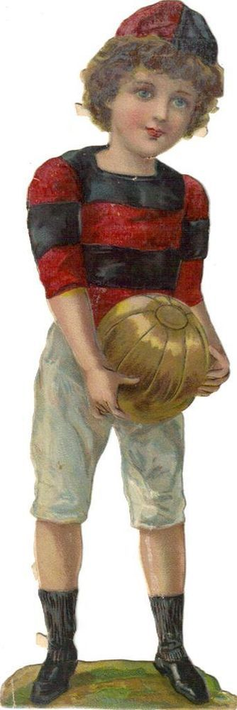 arger Victorian Die Cut Scrap Boy w Soccer Ball c1880s