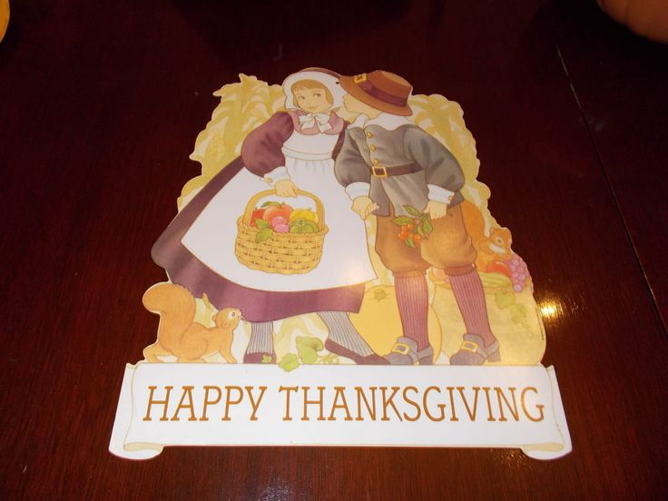 VTG  AMERICAN GRT HAPPY THANKSGIVING SIGN DIECUT CARDBOARD CUTOUT DECORATION #2