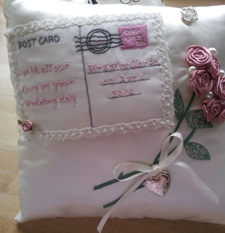 Hand embroidered wedding day cushion handmade by Beautiful Unique