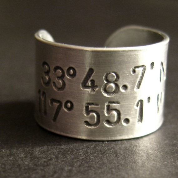 Ring with the latitude and longitude of our first date... anniversary present for Chris?