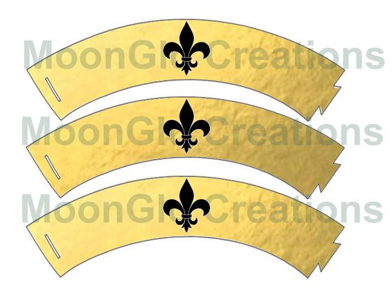 Fleur de lis cupcake wrappers . Gold and by MoonGloCreations