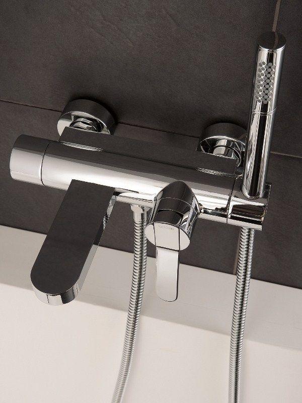ZAZZERI TREND  Miscelatore per vasca a muro con doccetta in ottone con finitura cromo o acciaio spazzolato o mat bianca o nera verniciata a spruzzo