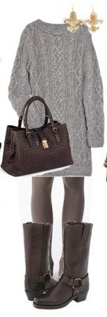 Love the sweater dress & boots. <<< I can already feel the cool weather with this outfit. Brrrr.: Purse, Style, Cute Outfits, Fall Outfit, Sweaterdress, Big Sweater