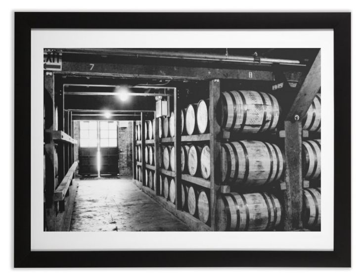 Jack Daniel Whiskey Barrels  The perfect addition to your man cave,  bar, or rustic decor. Black and white photograph taken at the Jack Daniel Distillery in Lynchburg, TN. Features a barrel house full of white oak barrels stored during the whiskeys aging process.  Various items available for purchase on Jennifersheets.threadless.com