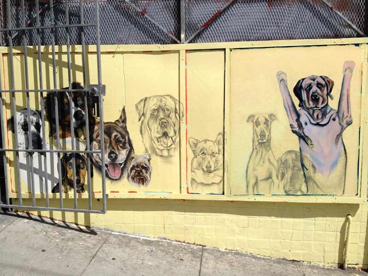 A mural of ten dogs is taking shape at the corner of Fillmore and Page.Murals Liven, Ten Dogs, Haight Street, Street Art, Lower Haight