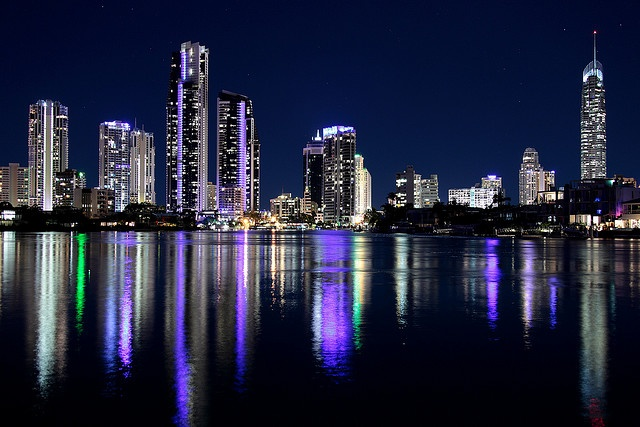I love the colors of the reflections in the waters of Surfers Paradise, Queensland, Australia @ night