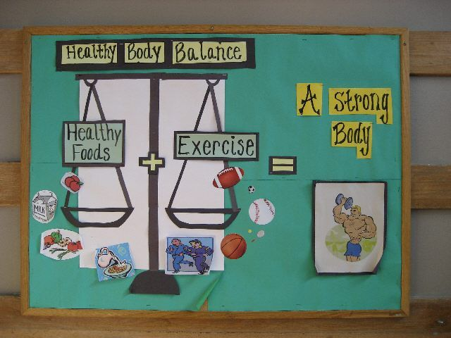 This bulletin board shows how children can build a strong body. It shows that being healthy as well as engaging in exercise will balance out to a strong body. I like how this board gives examples of healthy foods and also examples of sports that children can participate in to be active. This bulletin board could be used for younger and older children because it's a basic concept but applies throughout all of life.
