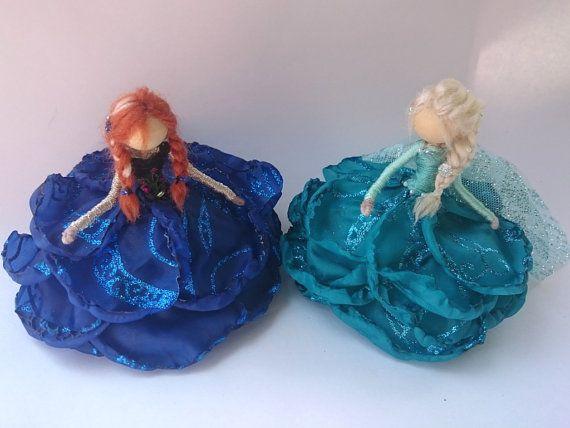 Glimmer Edition Elsa and Anna ~ Bendy Dolls ~ Designer Waldorf Flower Dolls ~ Winter Frozen Doll Set