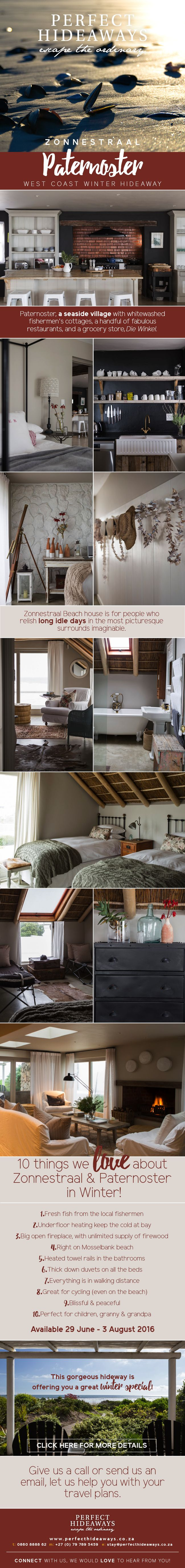 http://www.perfecthideaways.co.za/Details/Zonnestraal-Beach-House #westcoast #southafrica #paternoster #crayfish #villagelife