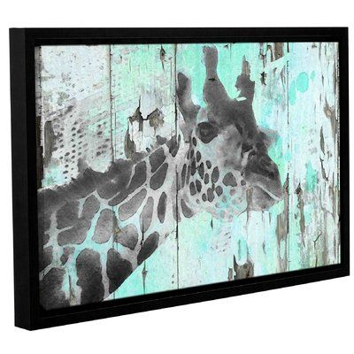 varick gallery giraffe taking a look framed graphic art print on canvas size