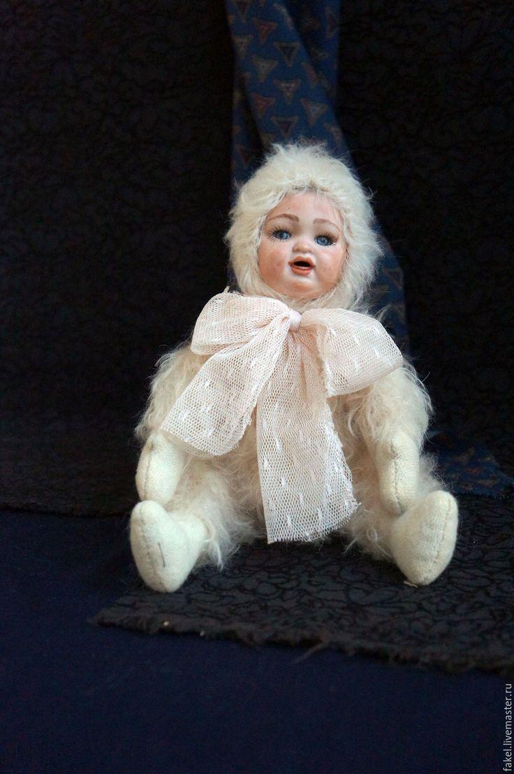 Купить Снежик, тедди-долл - белый, тедди, тедди-долл, антикварная кукла, антикварная головка