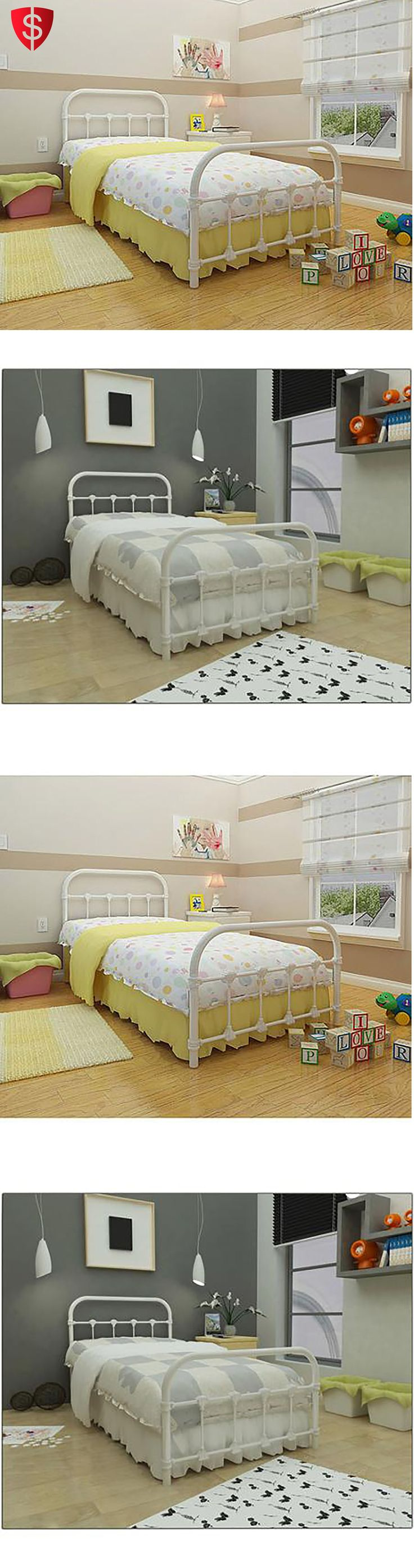 Bedding: White Metal Twin Size Bed Frame Bedroom Furniture Antique Victorian Steel BUY IT NOW ONLY: $165.95