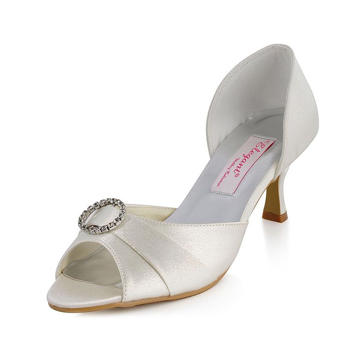 Peep Toes Satin Mid Heel Bridal Shoes with Crystal Brooch Shoes Size:35/36