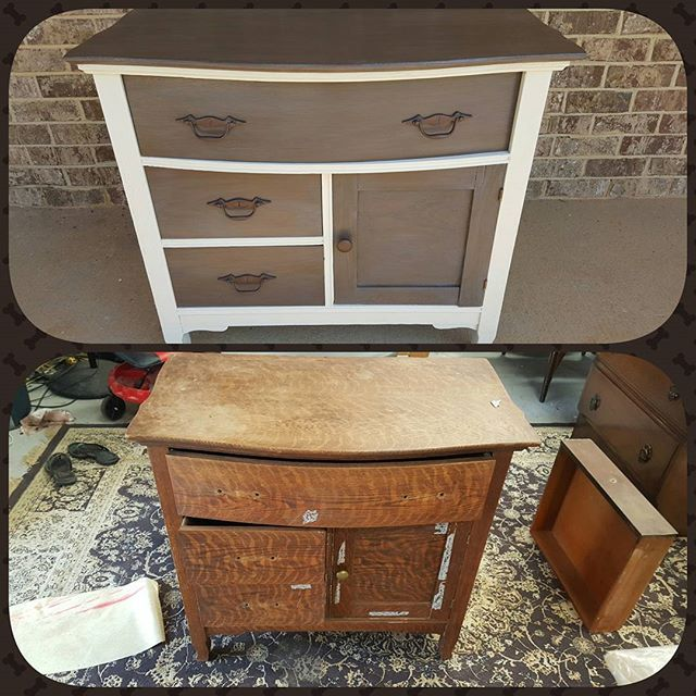 Gotta love a wash stand makeover using Dixie Belle products.......Dropcloth body and Voodoo Gel Stain accents and top and finished off with Gator Hide.  #44marketplace #dixiebellepaint #shoplakeoconee #shopsmall #lovetopaint
