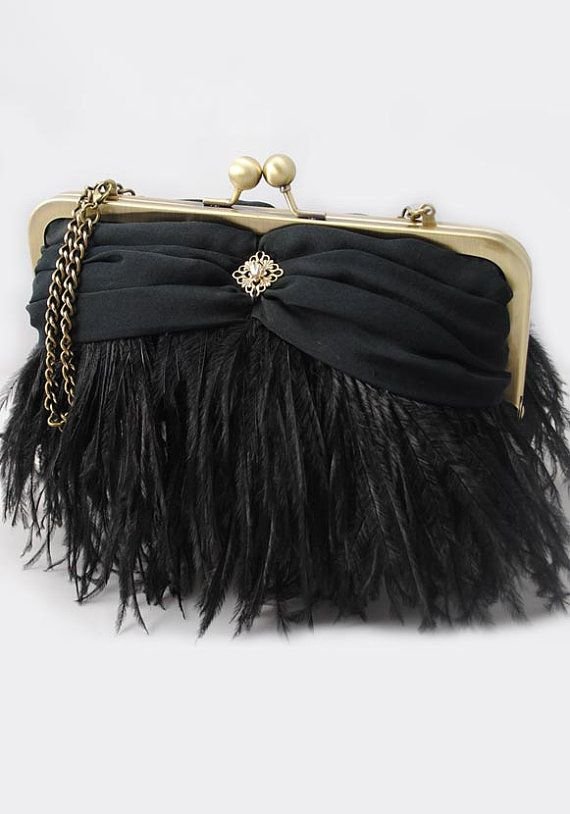 Black Ostrich Feather Evening Clutch by lenakanter711 on Etsy, $119.00
