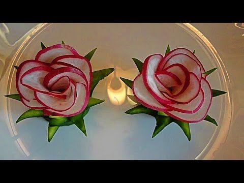 Цветы из редиса. Украшения из овощей. Flowers radish. Decoration of Vegetables. - YouTube