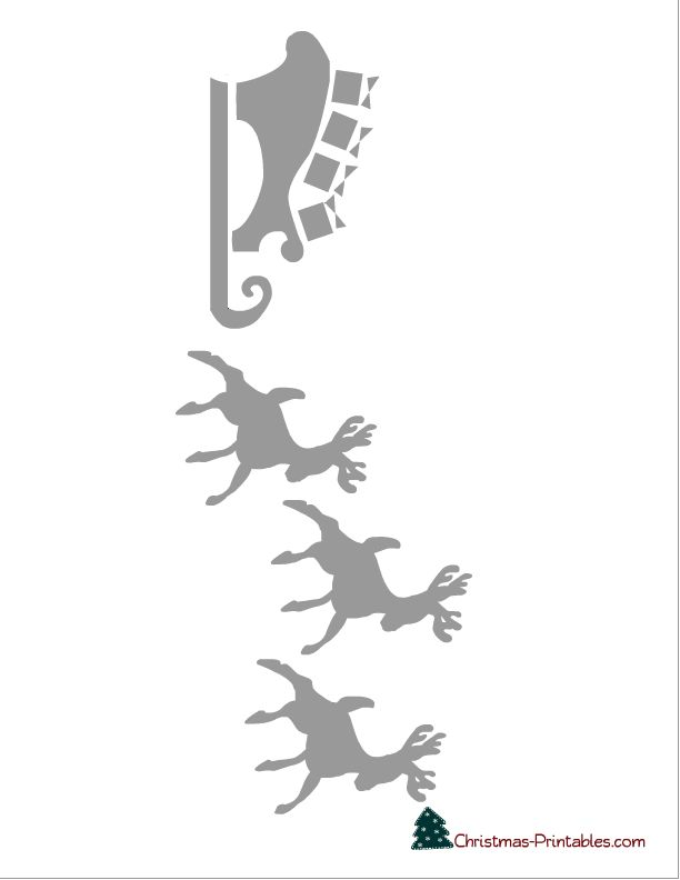 free printable christmas stencils stencil of reindeer and sleigh