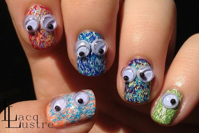 Sally Hansen Fuzzy Coat Nail Art with Googley Eyes!