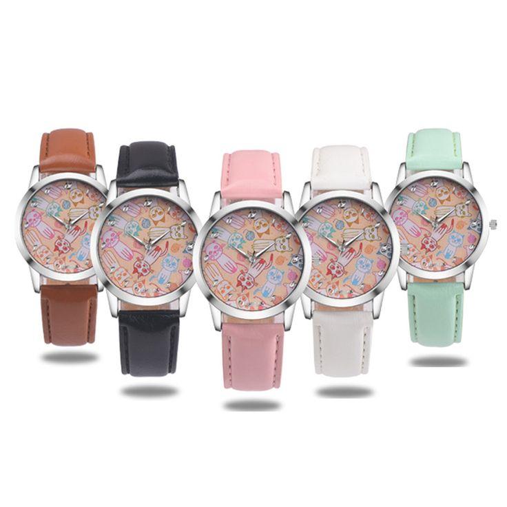 Aliexpress.com: Comprar Reloj Mujer Reloj Mujer Cute Cat Relojes Femeninos de Cuero de Imitación Reloj Análogo De Cuarzo Del Reloj Relogio Feminino de feminino fiable proveedores en Rainbow International Trade Co.,LTD