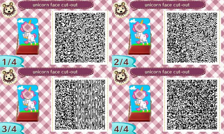 Unicorn Face Board - Animal Crossing New Leaf QR Codes