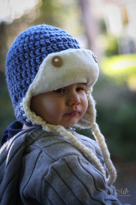 Toddler Boy Aviator Hat Fleece Lined Crochet Aviator door FleecyKnit, $45.00