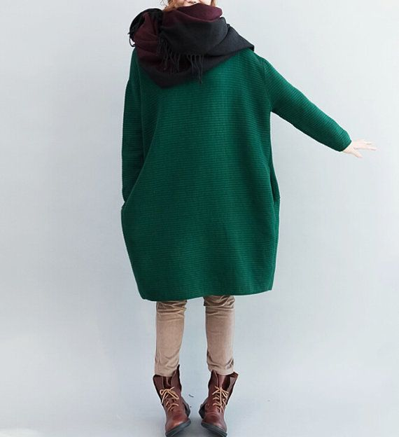 Red/ green Cotton Oversize Loose Long dress by MaLieb on Etsy