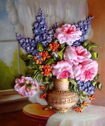 silk ribbon embroidery tutorials | Silk Ribbon Flower Embroidery Designs By Inessa Timonina
