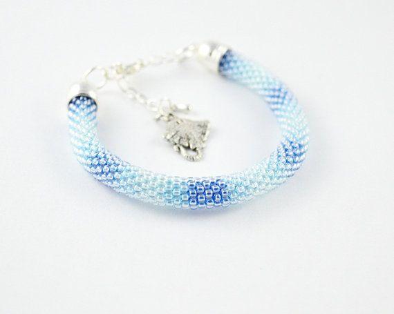 Seed beads bracelet blue bracelet shadow by SzkatulkaAmiJewelry