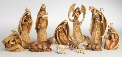 12-Piece Woodland Inspirations Driftwood Christmas Nativity Figure Set. Color: Brown. From The Woodland Inspirations CollectionDetailed sculpting and unique washed finish reveal the beauty of this nativity set with a wood carved appearance Set includes: The Holy Family. Mary, Joseph and Baby Jesus, the Three Kings (Wisemen), an angel, shepherd, seated ox, seated donkey and two sheepDimensions: 1.4.H x 2.4.W x 1.25.D (smallest) to 9.25.H x 3.5.W x 2.5.D (largest)Material(s): resin.
