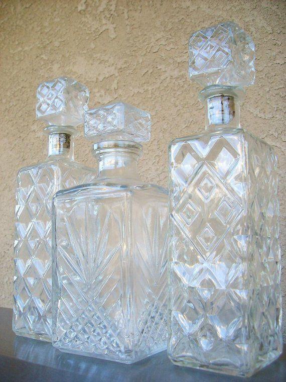 Vintage Decanter Sets | Vintage Cut Glass Liquor Decanter Set of Three