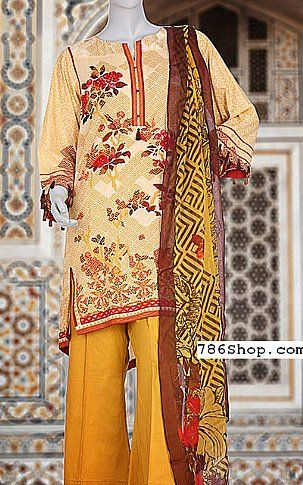 Mustard Lawn Suit | Buy Junaid Jamshed Eid Collection Pakistani Dresses and Clothing online in USA, UK