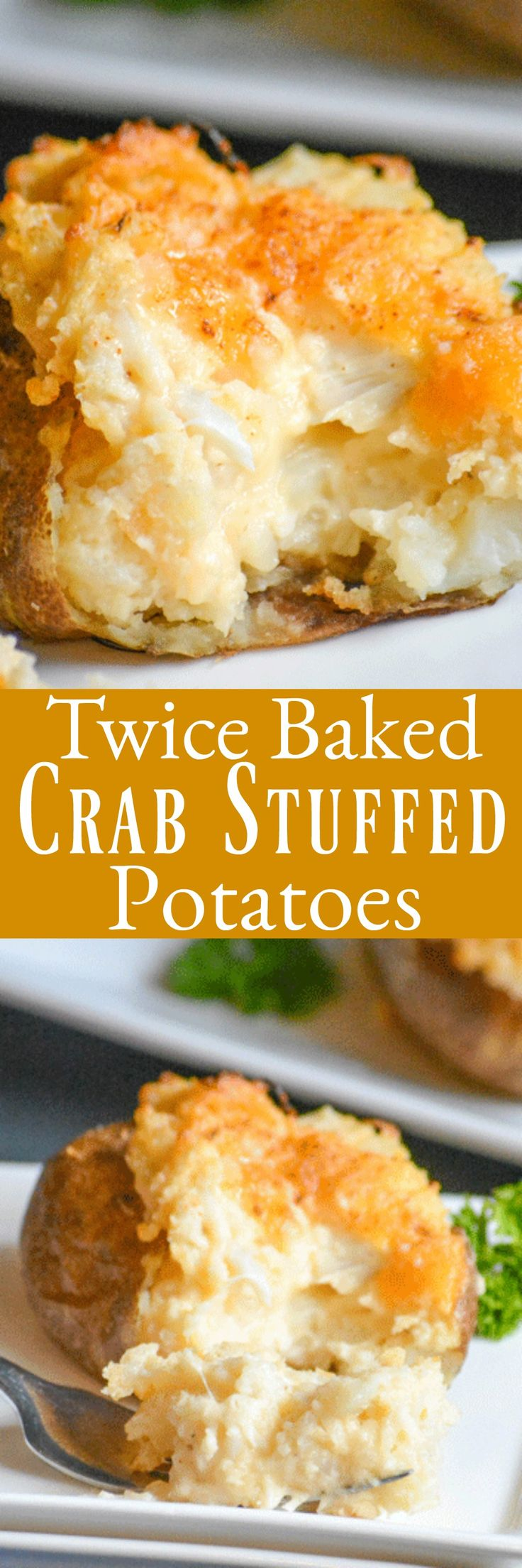 Creamy twice baked potatoes are stuffed with lump crab and cheddar cheese for the ultimate party treat. Easier than they sound, these Twice Baked Crab Stuffed Potatoes also make an indulgent meal all by themselves.