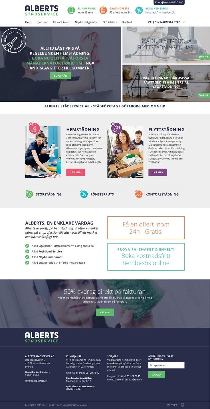 web design for Alberts Städservice - made by mkmedia - Gothenburg Sweden
