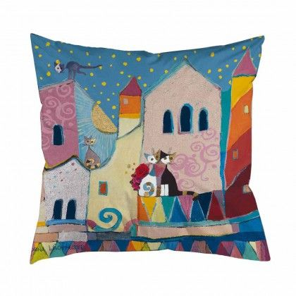 Stunning Deco Cushion Little Town without cushion insert The popular cat figurines by Rosina Wachtmeister decorating cushions made by Kleinmann
