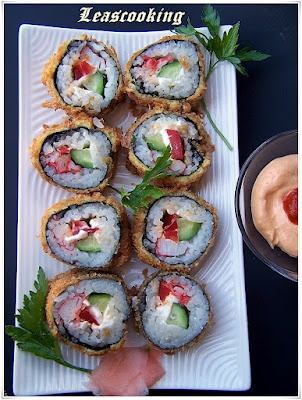 How to make Fried sushi  http://leascooking.blogspot.com/2012/05/fried-sushi.html