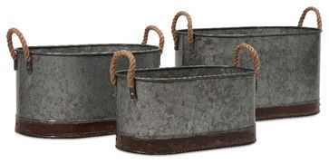 Gray Camay Oval Tubs, Set of 3 transitional-gardening-accessories