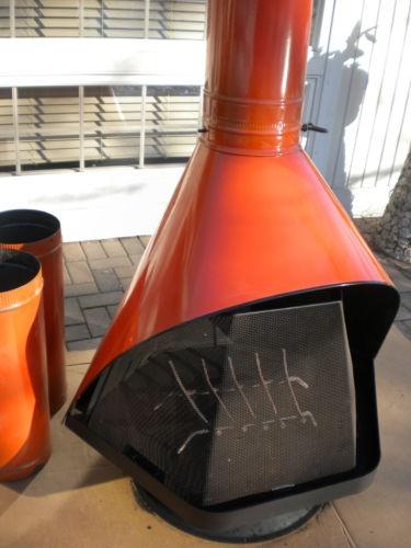 Vintage 1964 Free Standing Cone Fireplace Aztecc Orange