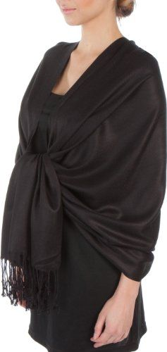"""78"""" x 28"""" Silky Soft Solid Pashmina Shawl / Wrap / Stole - Black Sakkas http://www.amazon.com/dp/B002XXRW58/ref=cm_sw_r_pi_dp_A4EFub1Y7KFNA - Amazon - $13"""