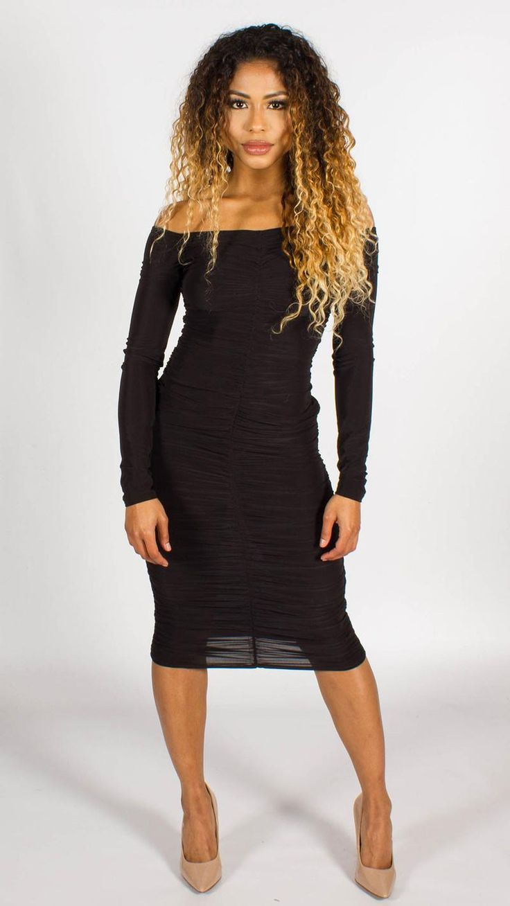 Ruched Bardot Bodycon Midi Dress Black