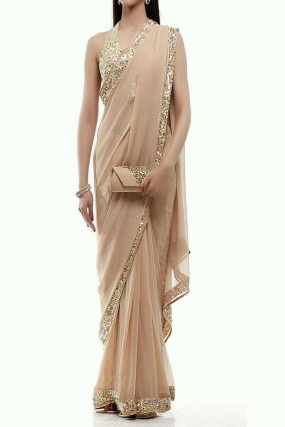 b701a6e6eec0a Gold and nude color embroidered cocktail saree