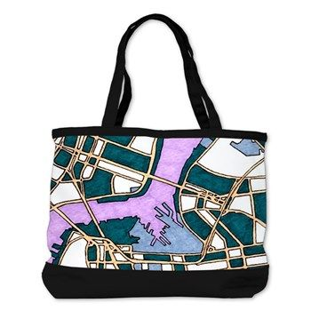 Should bag with a map of Old New York City.  Can you spot the Brooklyn bridge?