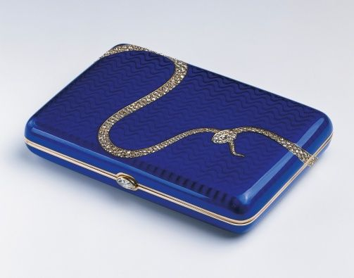 The Royal Collection: Cigarette case,reator: Fabergé (jeweller) Creation Date: 1908 Materials: Two-colour gold, guilloché enamel, brilliant and rose-cut diamonds.