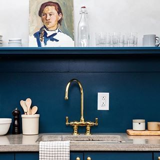 Blue Beauty: @jerseyicecreamco does it again @stay_lokal in Philly. We've got the inside scoop on all the materials for their dramatic kitchen in today's Steal This Look on RM. #rmkitchen #rmpalettes #rmsmallspace #hotel #philly  @heidisbridge