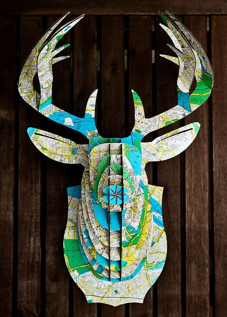 vintage map covered cardboard deer head by the awesome steph goralnick